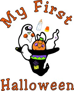 "Browse Halloween ghost costume apparel, tee's and personalized trick or treat bags featuring our not so spooky ghosts, black cats, pumpkins, scary bats and ""Happy Halloween"" gift ideas for kids of all ages"
